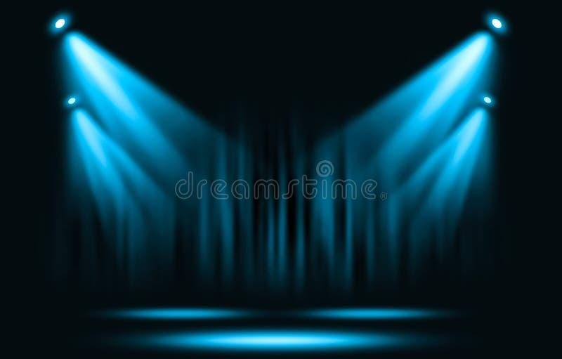 演出光 与确定蓝色聚光灯通过黑暗 库存例证