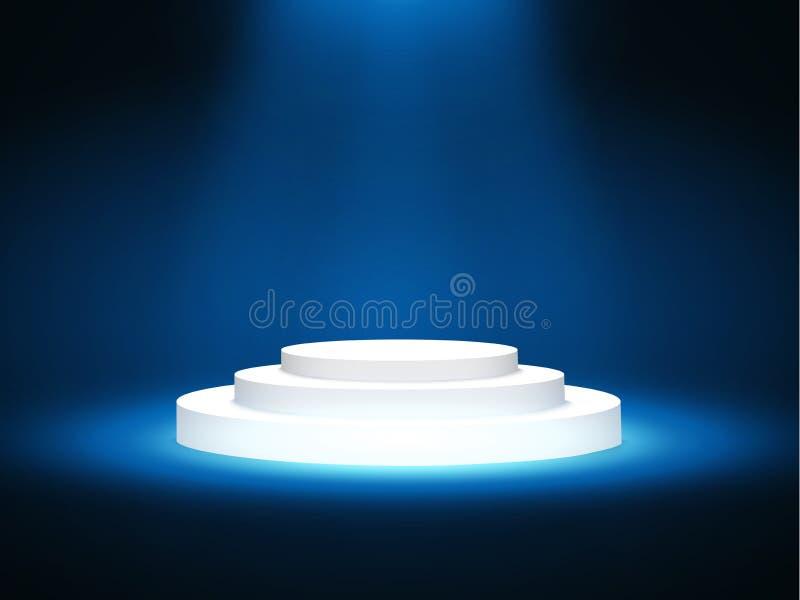演出有照明设备的,阶段与颁奖仪式的指挥台场面指挥台在蓝色背景,传染媒介例证 库存例证