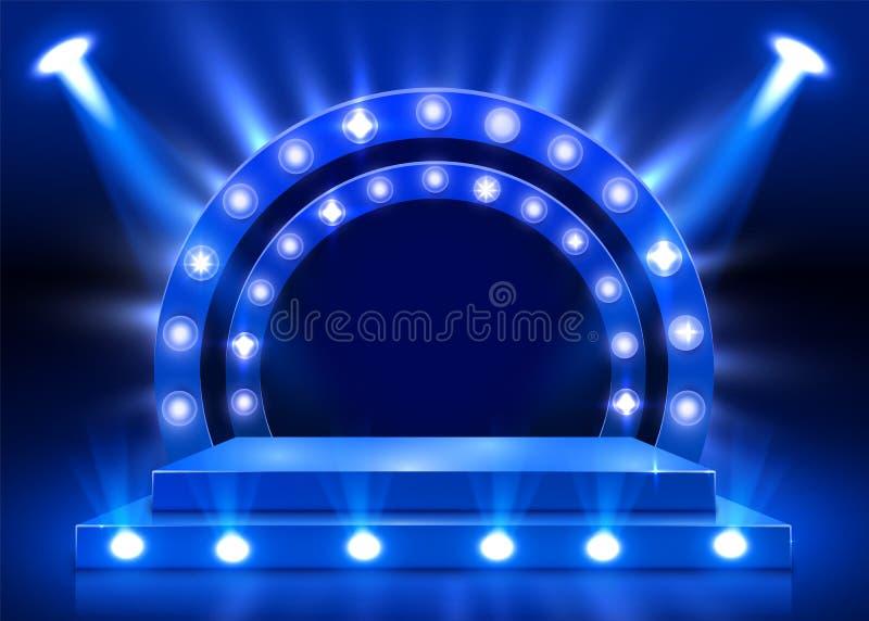 演出有照明设备的,阶段与颁奖仪式的指挥台场面指挥台在蓝色背景 库存例证