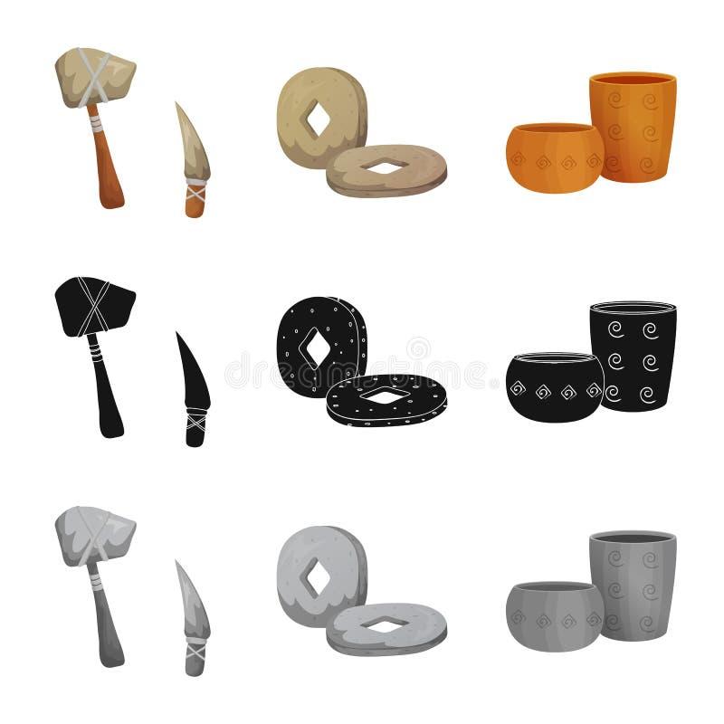 演变和新石器时代的商标传染媒介设计  设置演变和原始储蓄传染媒介例证 向量例证