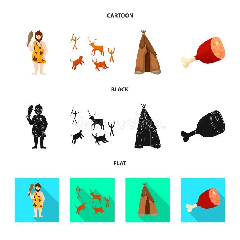 演变和新石器时代的标志传染媒介设计  r 库存例证