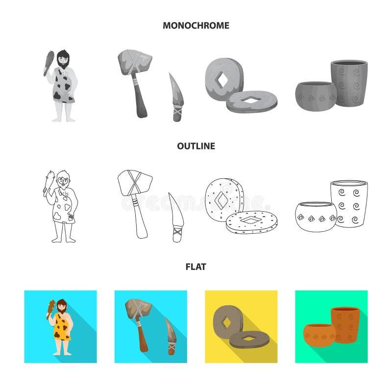 演变和新石器时代的标志被隔绝的对象  r 皇族释放例证