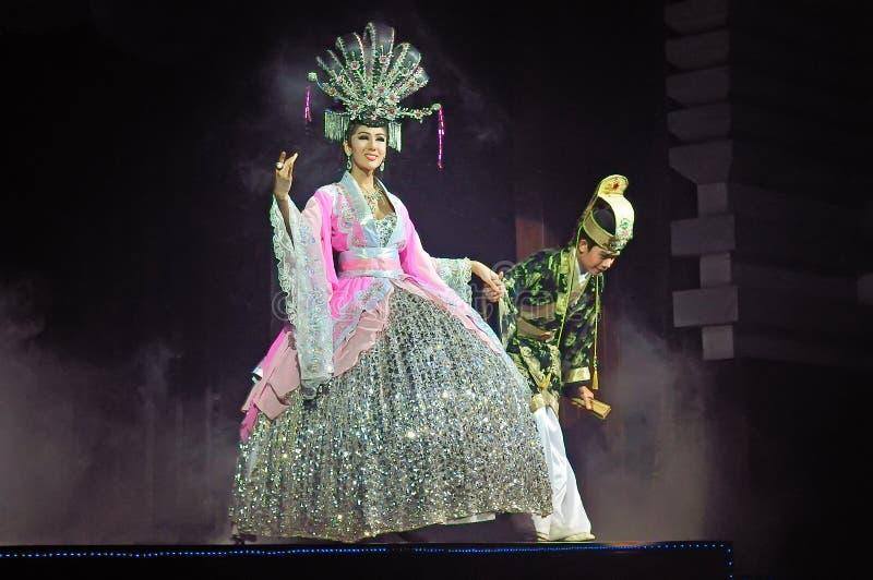 演员的表现阶段城堡泰国余兴节目展示的 库存图片