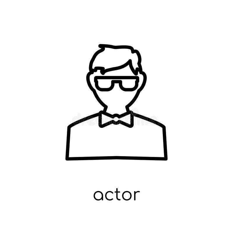 演员象 在白色的时髦现代平的线性传染媒介演员象 皇族释放例证