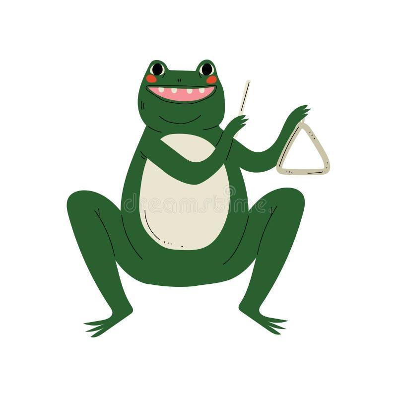 演奏三角,逗人喜爱的动画片动物音乐家字符的青蛙演奏乐器传染媒介例证 向量例证