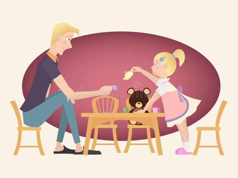 演奏与她的父亲的小孩女孩茶会 向量例证