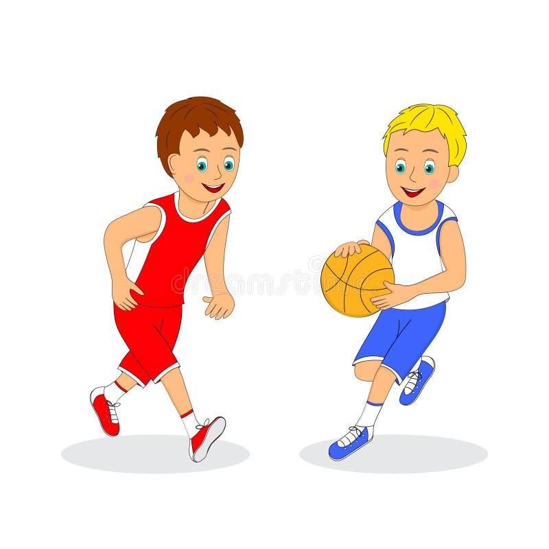 演奏二的篮球男孩 皇族释放例证