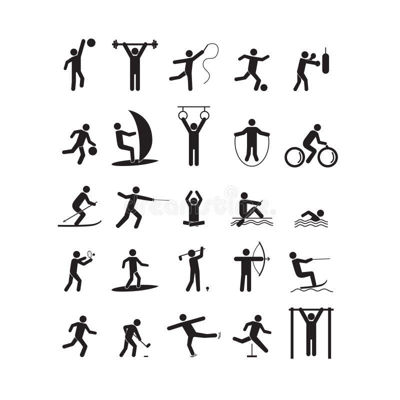 演奏人黑色集合的体育象 向量 向量例证