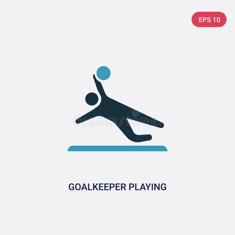 演奏从消遣比赛概念的两种颜色的守门员传染媒介象 演奏传染媒介标志标志的被隔绝的蓝色守门员能 库存例证