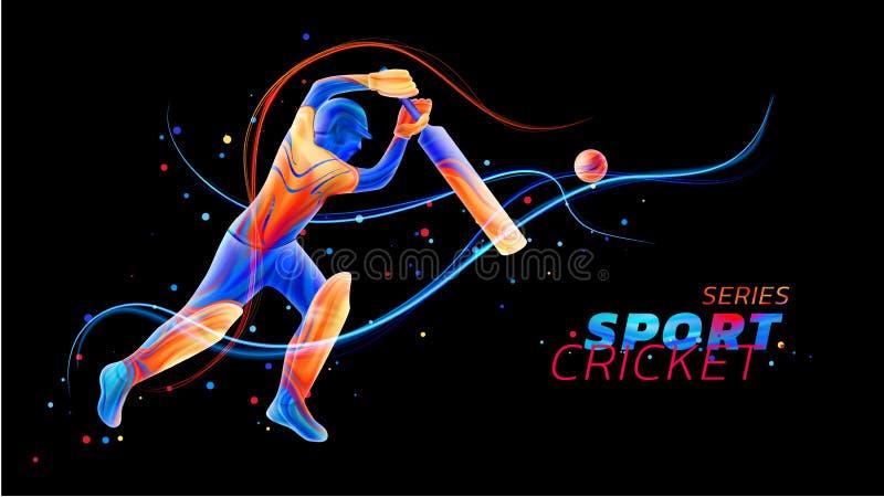 演奏从色的液体的蟋蟀飞溅和刷子冲程的板球运动员的传染媒介抽象例证与霓虹线 皇族释放例证