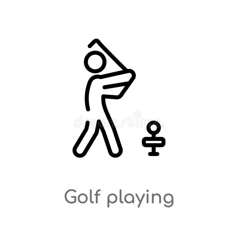 演奏传染媒介象的概述高尔夫球 被隔绝的黑简单的从活动和爱好概念的线元例证 编辑可能 向量例证