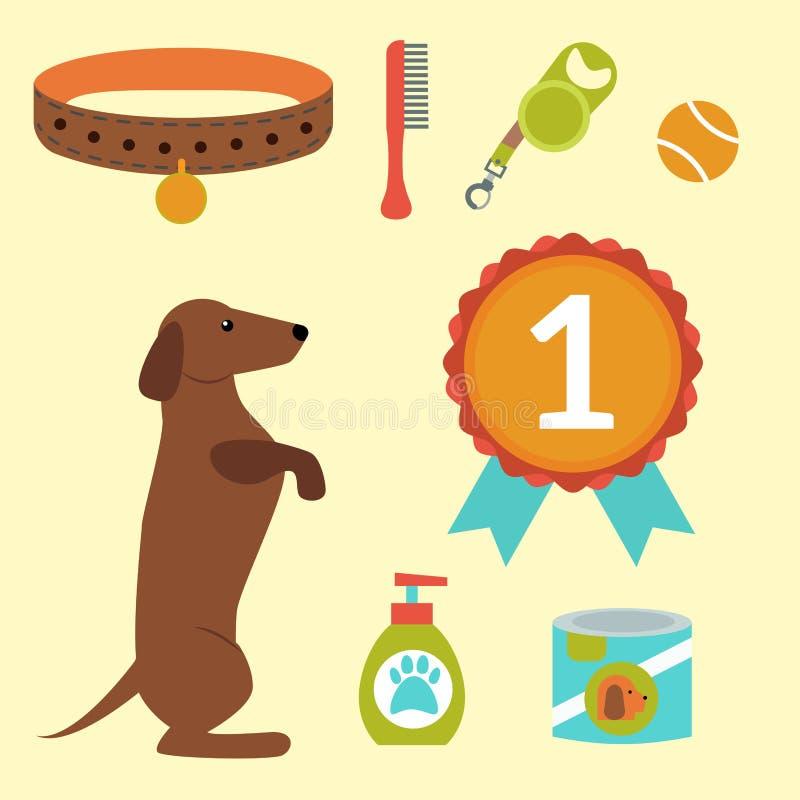 演奏传染媒介例证元素集平的样式小狗国内宠物辅助部件的达克斯猎犬狗 皇族释放例证