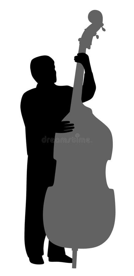 演奏低音提琴的人 向量例证