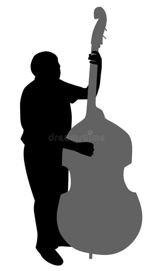 演奏低音提琴的人 库存例证
