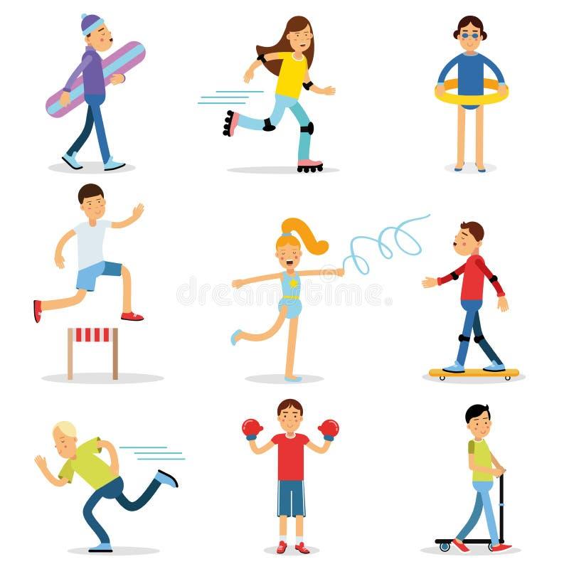 演奏体育的少年孩子被设置 儿童体育活动传染媒介例证 库存例证
