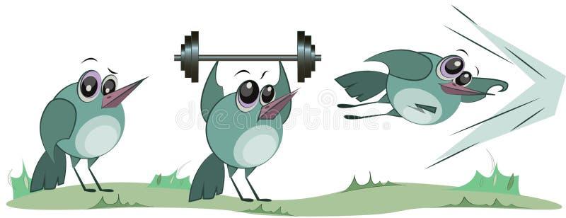 演奏体育的逗人喜爱的鸟 r 快乐的卡通人物 向量例证