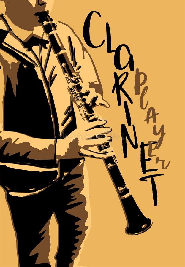演奏单簧管海报的男孩 库存例证