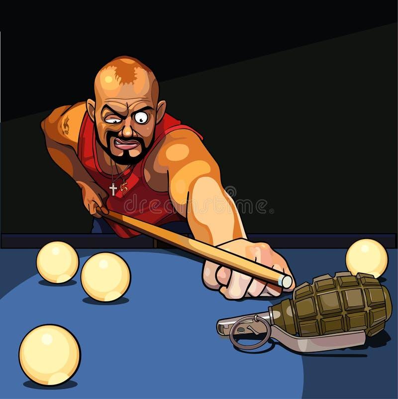 演奏台球,尝试的匪徒人瞄准手榴弹 向量例证