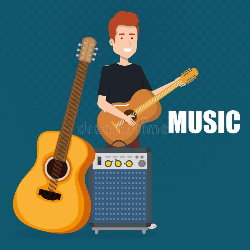 演奏吉他和报告人低音的人 库存例证