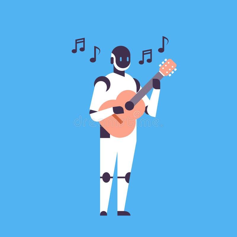 演奏吉他音乐帮手马胃蝇蛆人工智能技术概念蓝色背景舱内甲板的现代机器人 库存例证