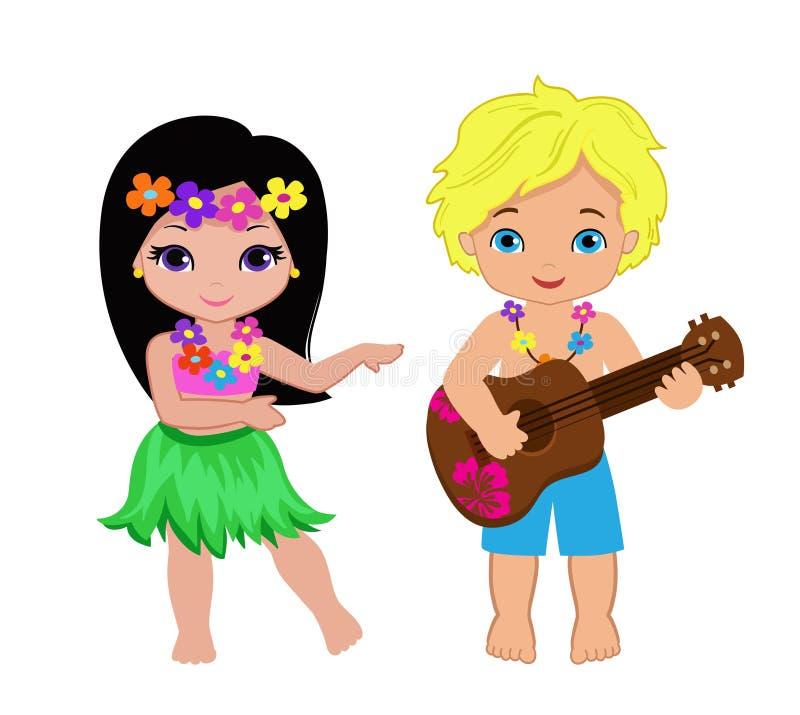 Download 演奏吉他和夏威夷女孩hula跳舞的男孩的例证 向量例证. 插画 包括有 长期, 动画片, 可爱, 弯曲, ,并且 - 72368436