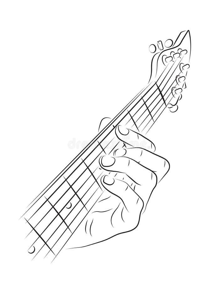 演奏吉他弦 皇族释放例证
