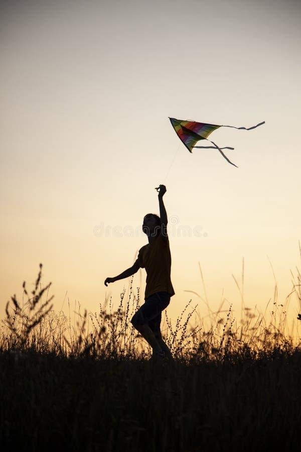 演奏在夏天日落草甸的男孩风筝现出轮廓 库存图片