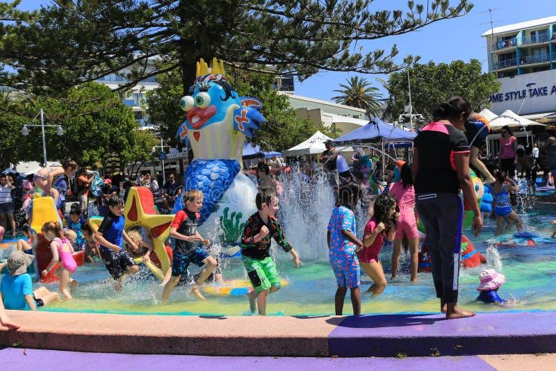 演奏在湖入口,澳大利亚的人们水 库存图片