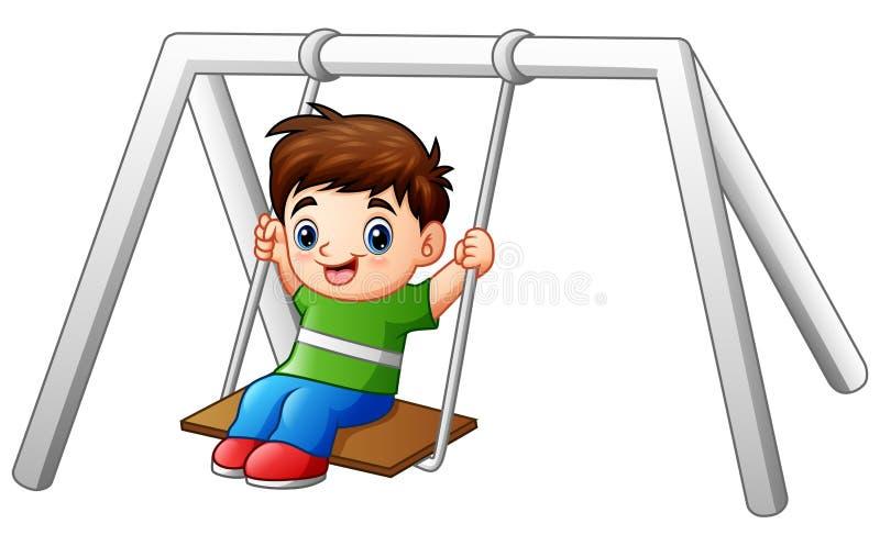 演奏在白色背景的动画片小男孩摇摆 皇族释放例证