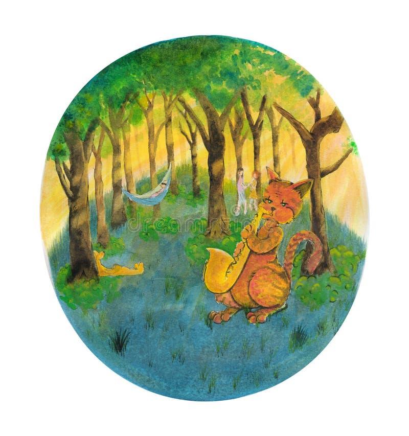 演奏在萨克斯管的橙色猫爵士乐在公园 向量例证