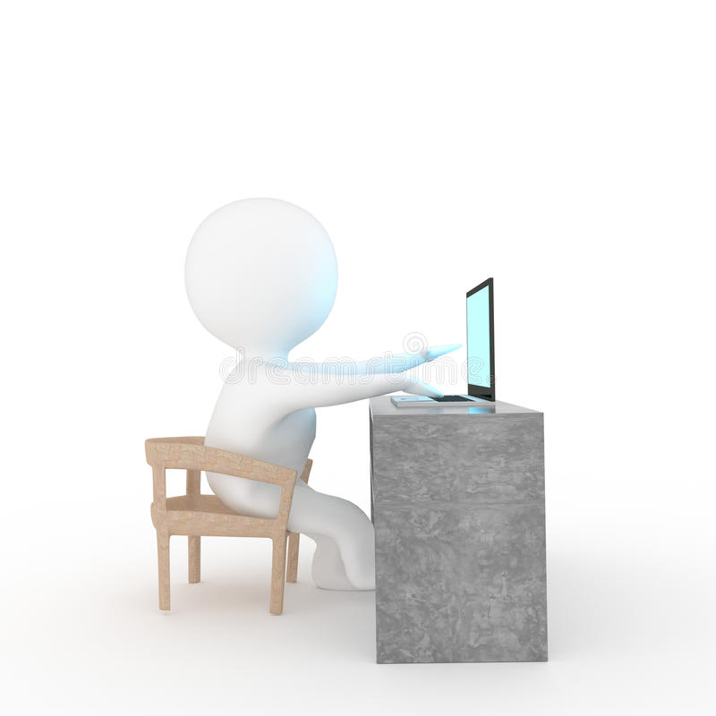 演奏在被隔绝的白色背景的小人民膝上型计算机在3D翻译 库存例证