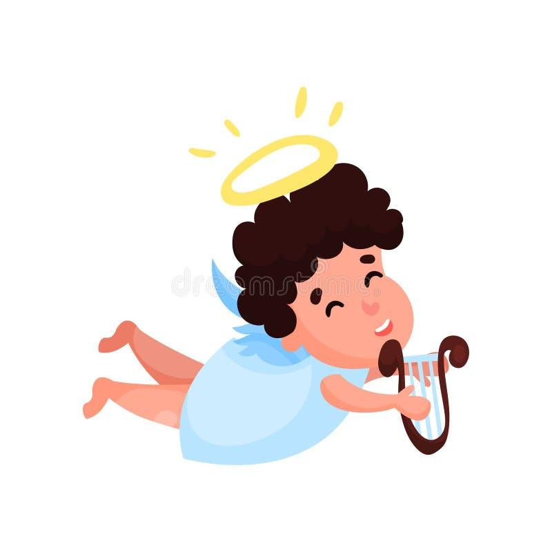 演奏在里拉琴动画片传染媒介例证的可爱的矮小的天使男孩音乐图片