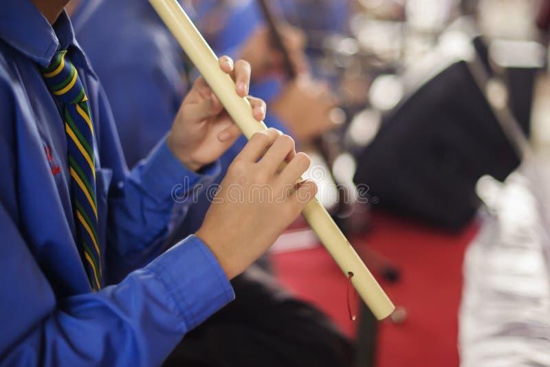 演奏在音乐会的年轻音乐家长笛 库存照片