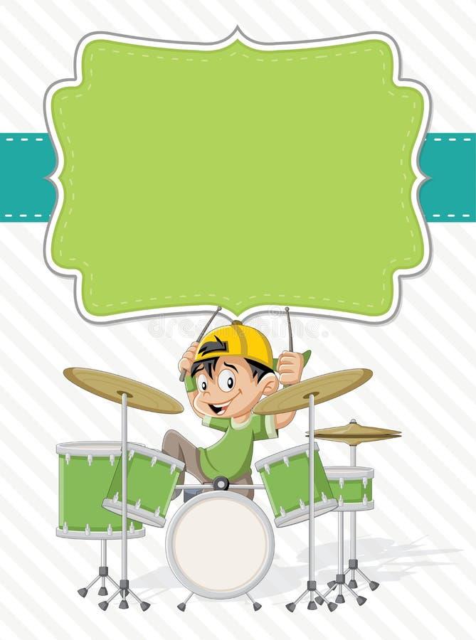 演奏在鼓的动画片孩子摇滚乐 皇族释放例证