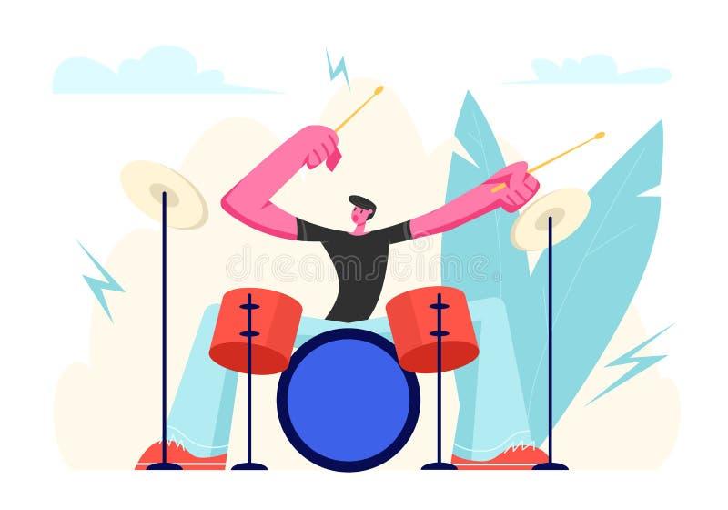 演奏坚硬摇滚音乐用在鼓的棍子的激动的鼓手 执行在阶段的有天才的音乐家字符与撞击声 库存例证
