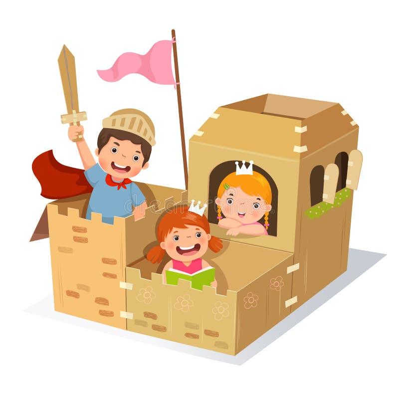 演奏城堡的创造性的孩子由纸板箱制成 向量例证