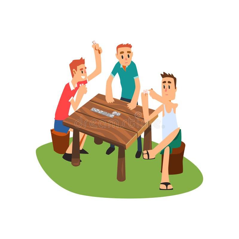 演奏多米诺的三个人户外,有的朋友好时间一起导航在白色背景的例证 向量例证