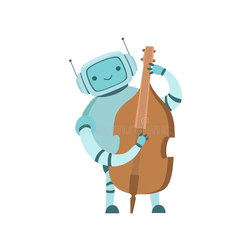 演奏大提琴乐器传染媒介例证的逗人喜爱的机器人音乐家 库存例证