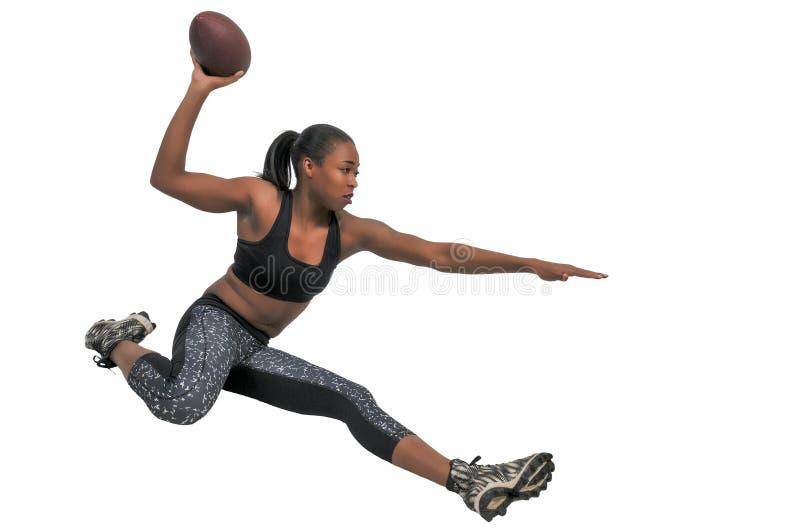 演奏妇女的橄榄球 免版税库存图片