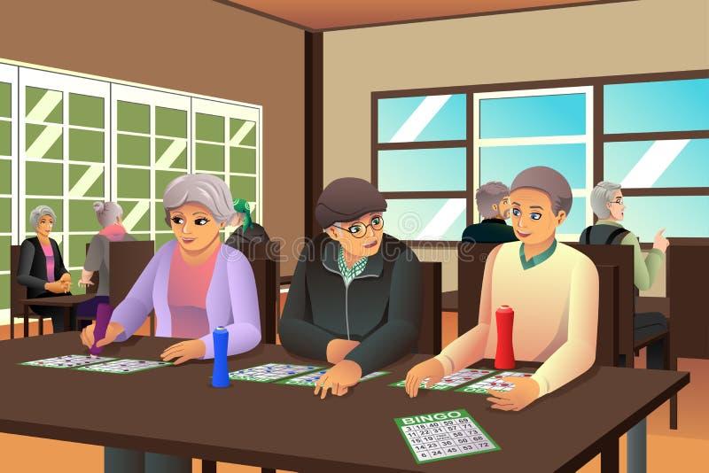 演奏宾果游戏的老年人 向量例证
