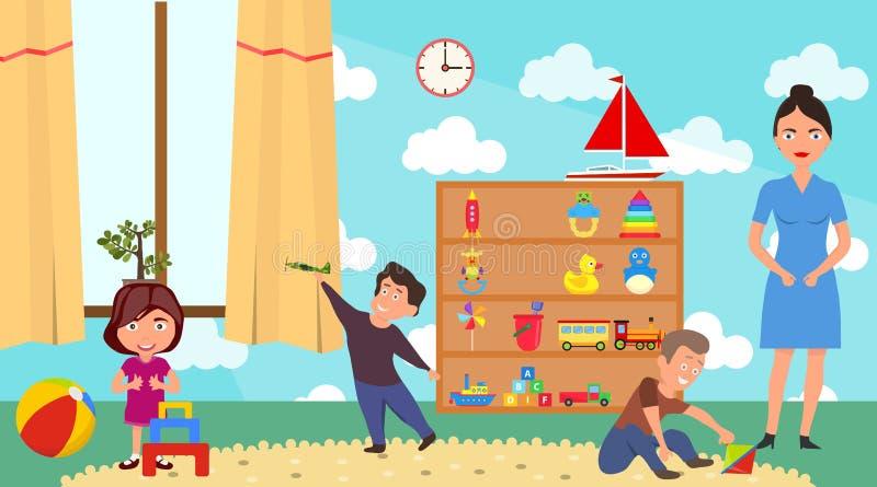 演奏幼儿园类的孩子 孩子有家具装饰操场和玩具的游戏室幼儿园在地板上 皇族释放例证