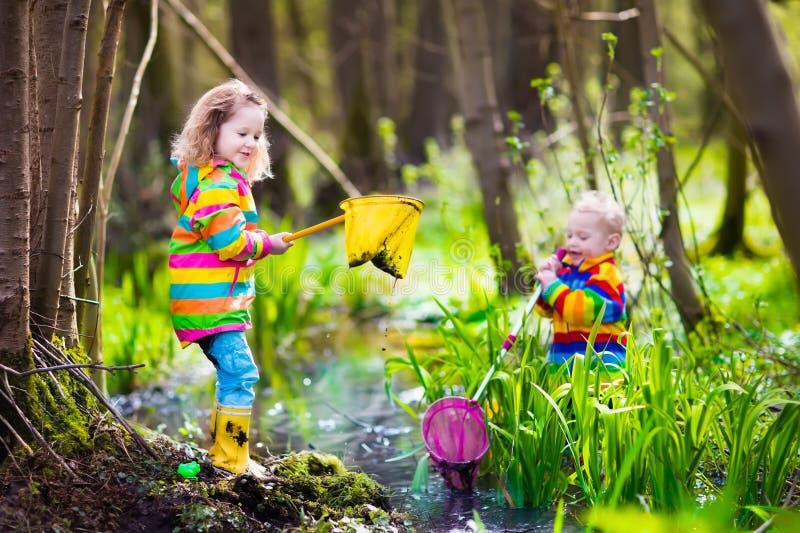 演奏户外捉住的青蛙的孩子 免版税库存图片