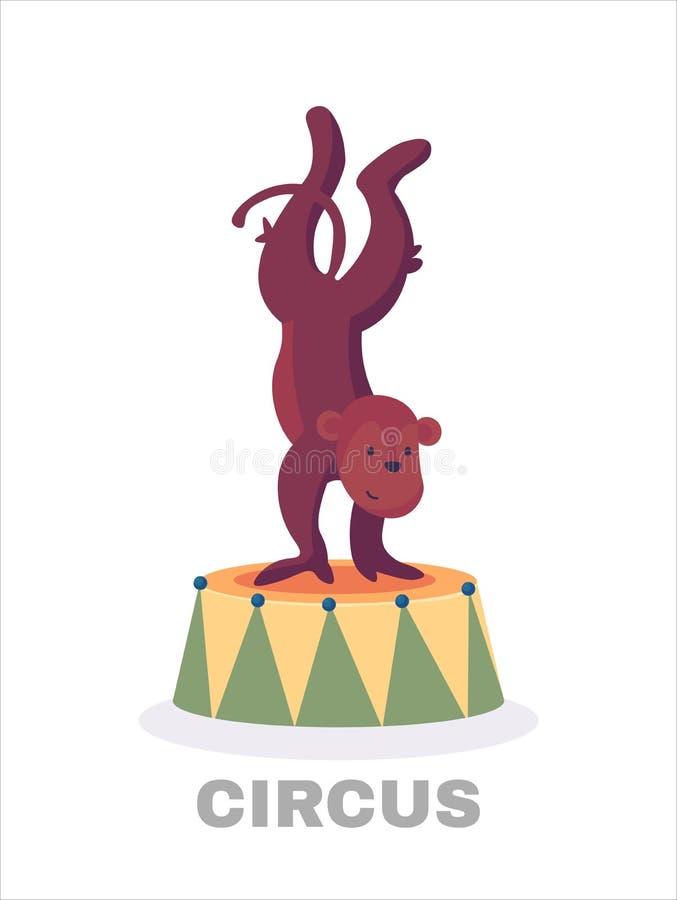 演奏撞击声手铙钹动画片例证的逗人喜爱的猴子的传染媒介例证隔绝在白色背景 库存例证