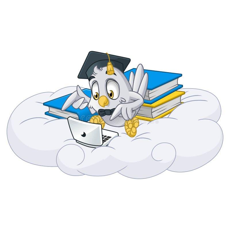 演奏有毕业盖帽的猫头鹰膝上型计算机 库存例证
