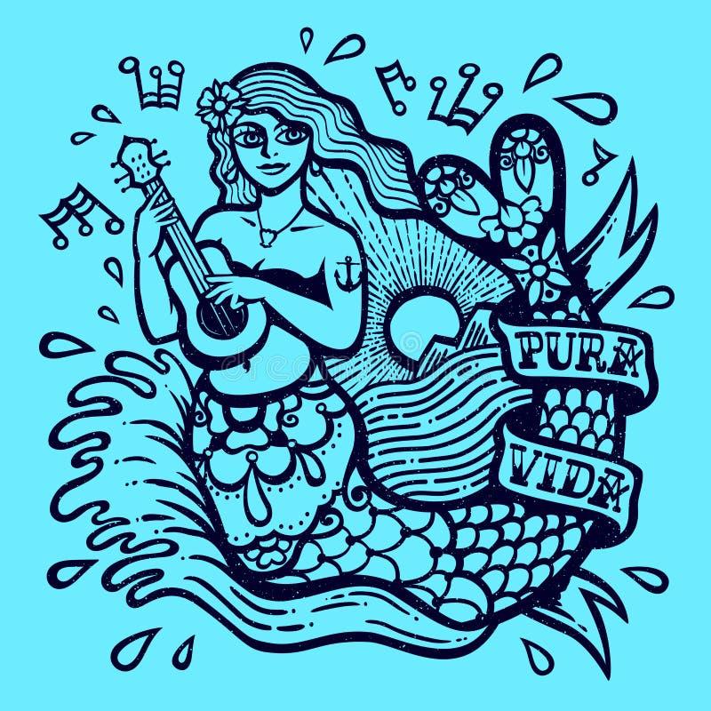 演奏有海的尤克里里琴和发光太阳异乎寻常的热带天堂单色传染媒介例证的逗人喜爱的异乎寻常的美人鱼女孩 免版税图库摄影