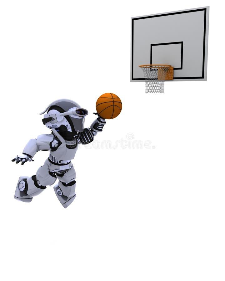 演奏机器人的篮球 库存例证