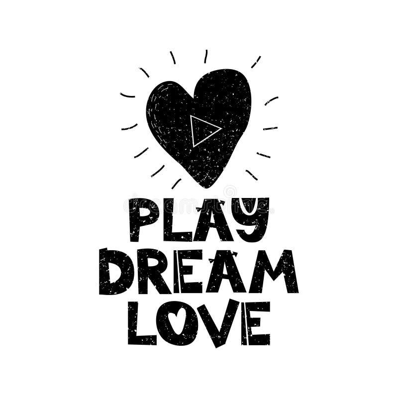 演奏梦想loveHand与激动人心的行情的被画的样式印刷术海报 贺卡、印刷品艺术或者家庭装饰 库存例证