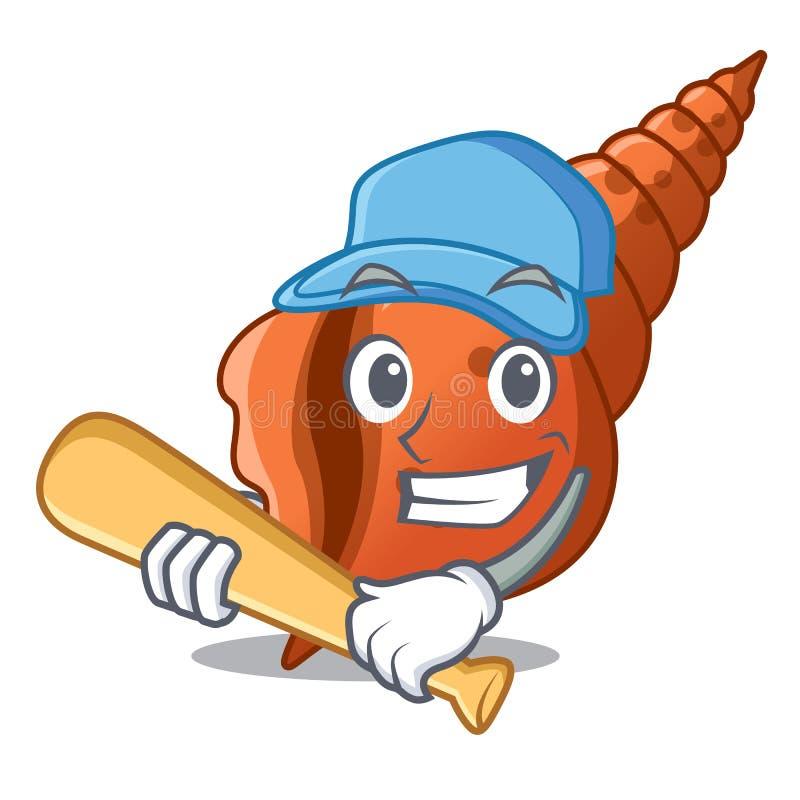 演奏棒球长的壳字符动画片 库存例证