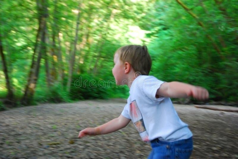 演奏森林的男孩 免版税库存图片