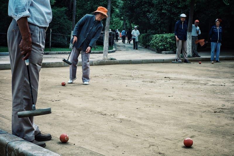 演奏槌球的年长人在有朋友的一个公园 免版税库存图片